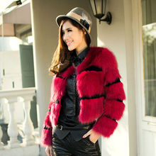 Lady's Fashion Fox Fur And Sheep Fur Cutting Coat/Wholesale And Retail