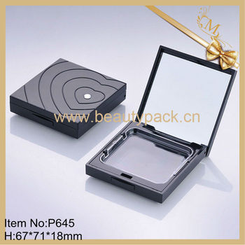 High end black square empty pressed powder container
