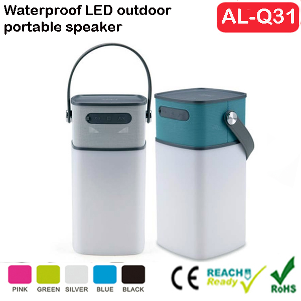 Outdoor Wireless Speaker, Waterproof Portable LED light lamp camping lantern speaker with Rechargeable Phone Charger PowerBank