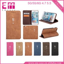 Retro Leather Case For iPhone 5 Card Slot Flip Magnetic Leather Case For iPhone 6