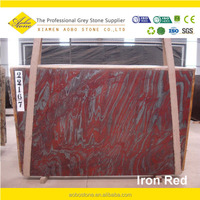 decorative professional luxury natural iron red marble stone slab