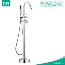 DFI Free standing clawfoot bath tub filler faucet hand shower floor mount in chrome
