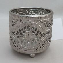 galvanized electro plating metal cheap candle holder in silver round