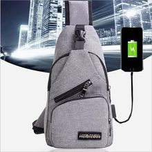 China Supplier nylon one shoulder strap cross backpack with USB charger