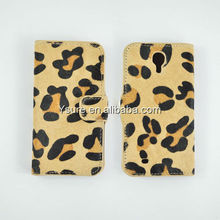 Genuine horsehair fur leopard mobile phone flip wallet case for Samsung S4 i9500 with card slot OEM