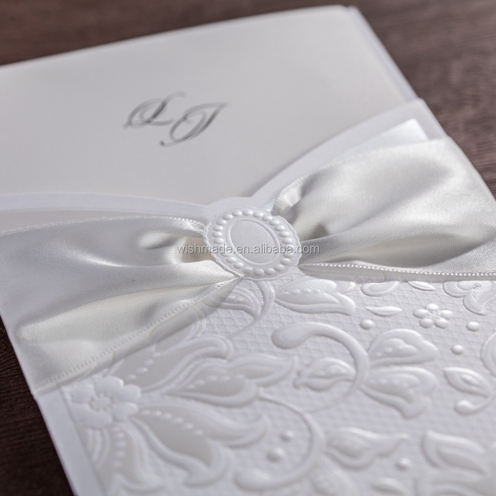 2017 Elegant Wedding Invitation Card With Flowers Embossed And ...