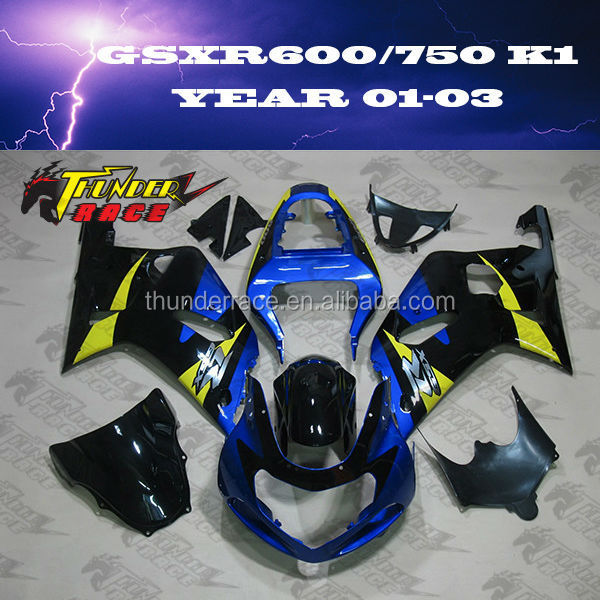 ABS Injection Molding Fairings Kits for SUZUKI GSXR600 GSXR750 K1 2001 2003