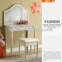 White Finish Vanity Table Mirror Stool Makeup Set | Antique vanity tables