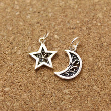 Wholesale Tibetan Silver Plated Moon Star Pendants Charms for Nekclace Handmade DIY Charms Jewelry Fittings