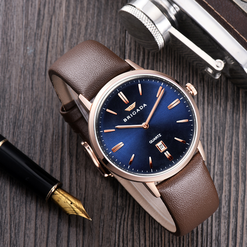 Quality domed crystal mens watches genuine leather strap Japan quartz movt