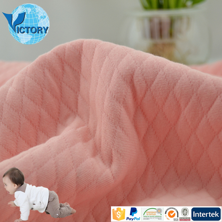 Fantastic Craft Polyester Weft Knitted Air Layer Double Sided Pre Quilted Cotton Fabric