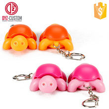 Promotion plastic led sound tortoise keyring Animal shape LED Keychain with Sound