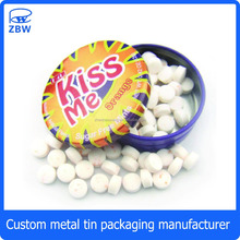 Round small clic-clac tins Flip-Flop tin Cans mints tin box