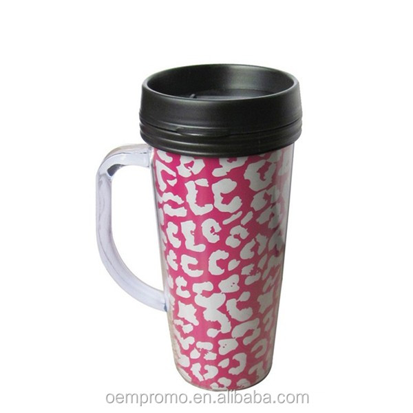 Plastic double wall thermo mug with colored paper insert