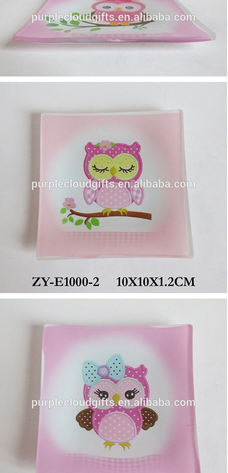 High Quality owl design printed glass plate , square tempered glass plate