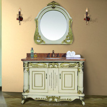 WTS- 1577R Prefab Modular cream white single sink waterproof Bathroom vanity cabinets Units