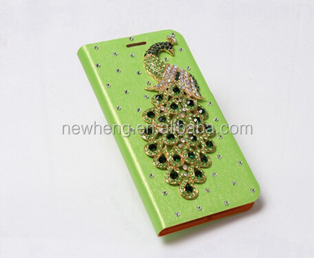 peacock diamond leather cover case for samsung galaxy s3