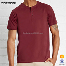 High quality 100% cotton henley shirts wholesale round neck custom mens short sleeve t-shirt