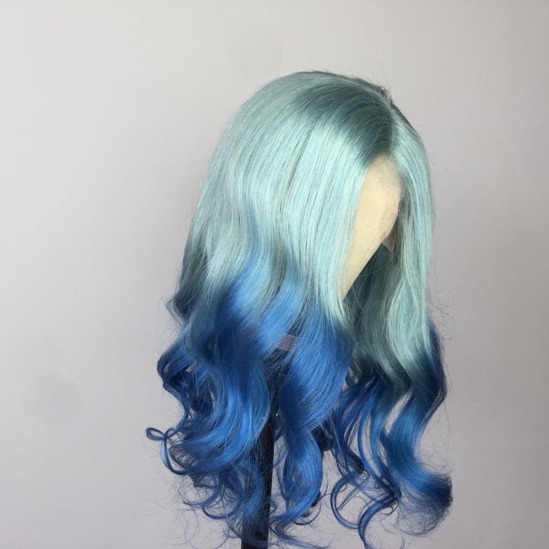 100% Glueless Lace Wig Human Hair Brazilian Virgin Blue Ombre Lace Front Wigs With Baby Hair Body Wave