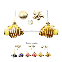 2016 Fish Star Seashell Dangle Earrings Animal Shaped Earrings Flat Sea Earrings