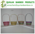 Handmade bamboo basket with handle