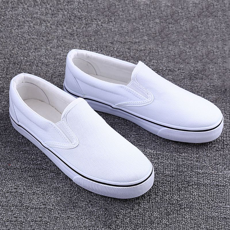 custom factory wholesale girls white loafers vulcanized shoes women's casual shoes ladies stock canvas shoes