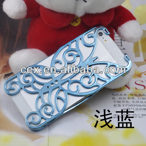Wholesales Butterfly Electroplating Deluxe Hollow Pattern PC Chrome Hard Back Case Cover for iPhone 5 5G 5S