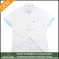latest design fancy wooden button white and blue contrast collar shirts