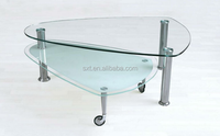 2015 hot selling home furniture glass coffee table with wheels