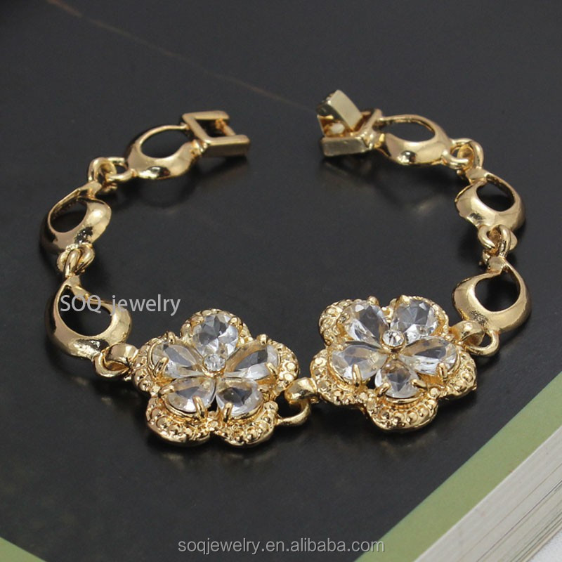 Natural Stone Vintage Crystal Flower Necklace with 18k Gold Plated Charm Bracelet Stainless Steel