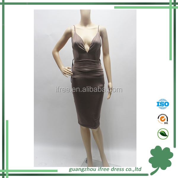 latest nude sexy fashion backless knee-length summer dress for girls 2015
