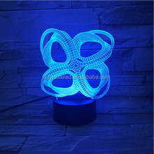 Factory direct wholesale acrylic colorful bowknot image 3D light colorful lamp Nightlight creative visual lnging LED