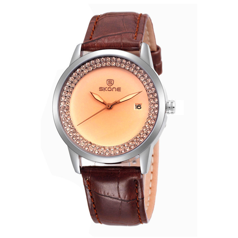 Classic Analog Watch Rose Gold Body Brown Leather Band/Straps