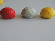 Brand Promotional Brain Shape Solid foam inside PU anti stress ball with logo printed