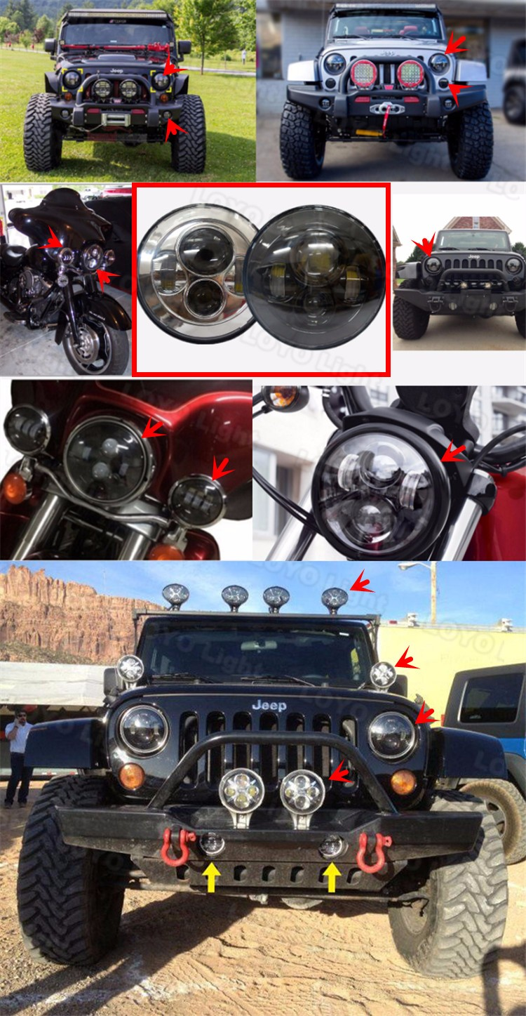 Round 75w high low beam led headlight 7inch for jeep wrangler