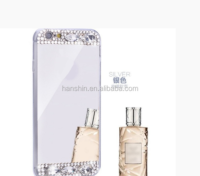 High quality Fashion mirror back diamonds soft Tpu phone <strong>case</strong> for iphone 6/6s/7/7plus