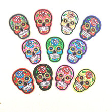 High Quality Cool Skull rose DIY Embroidered Sew-on Embroidery Patch for Clothes for Biker Clothing patch applique cheap price