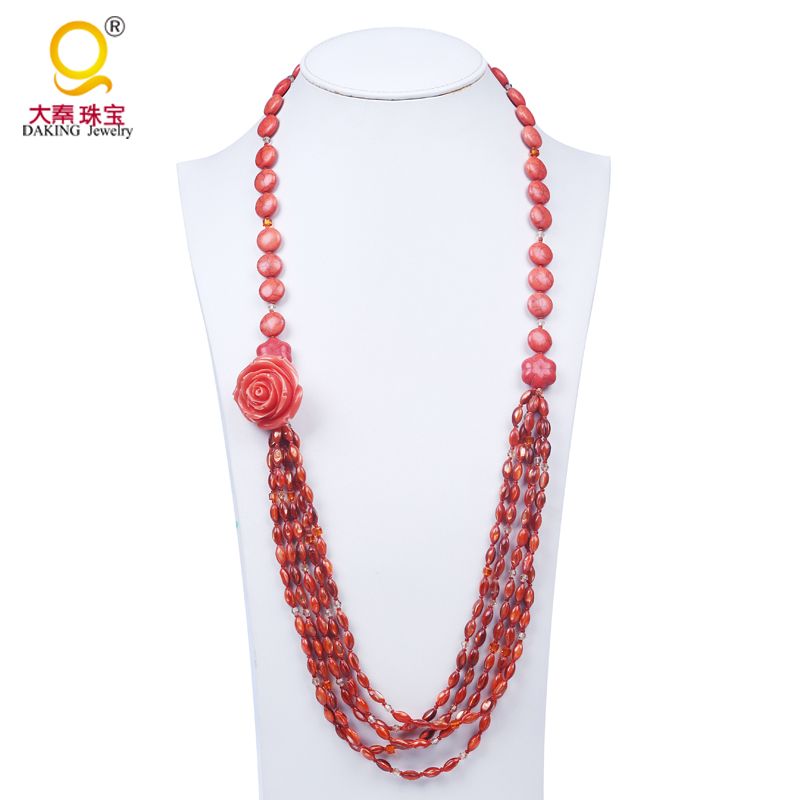 red shell and turquoise bead made maxi necklace women