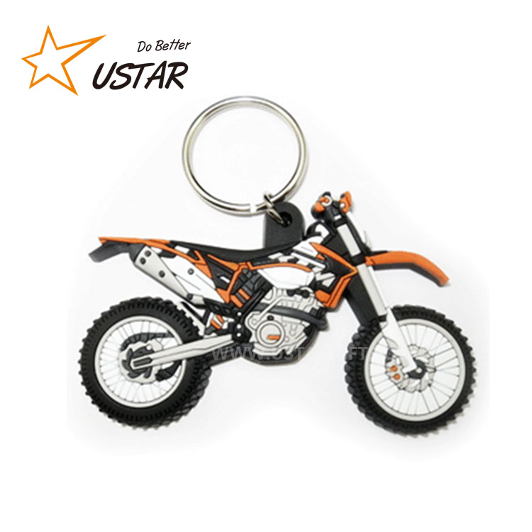Factory directly customized motorcycle soft PVC rubber 2D / 3D keychain / keyring for promotional gift