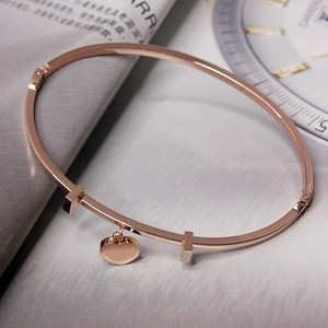 Trending Jewelry Bangle Simple Peach Heart Pendant 14K Rose Gold Plated Titanium Steel Bracelet