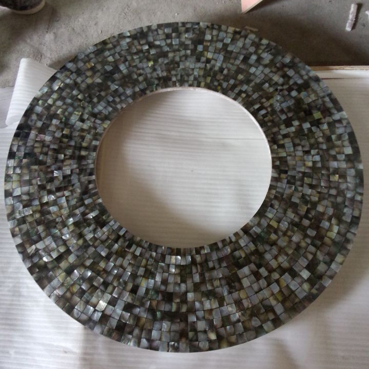 mother of pearl mosaic mirror frame
