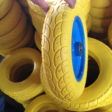 Puncture proof 3.50-8 pu foam solid tire with plastic rim