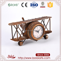 Orange rust design airplane shape round dial clock arts and craft