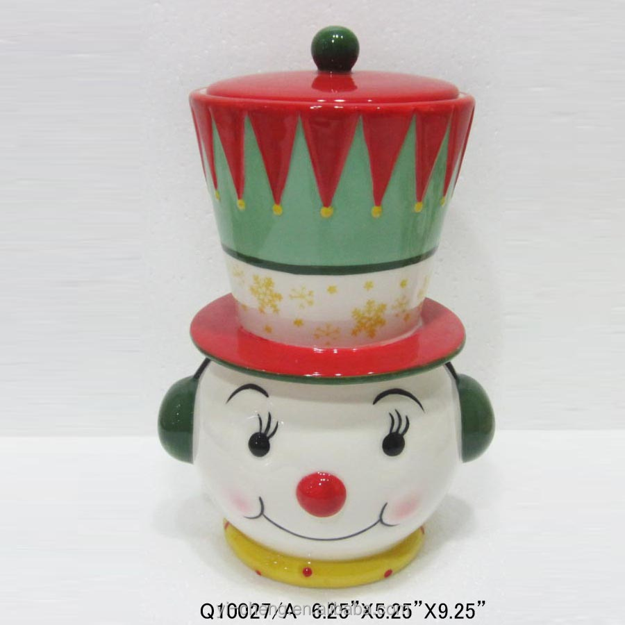 Funny ceramic snowman cookie jar 2017 Christmas season gift