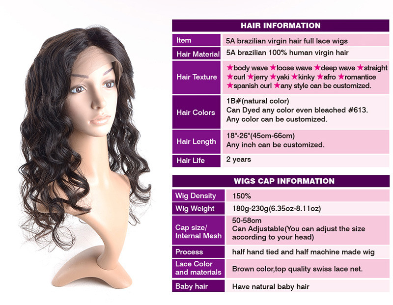 Factory direct price in stock brazilian human hair full lace wig