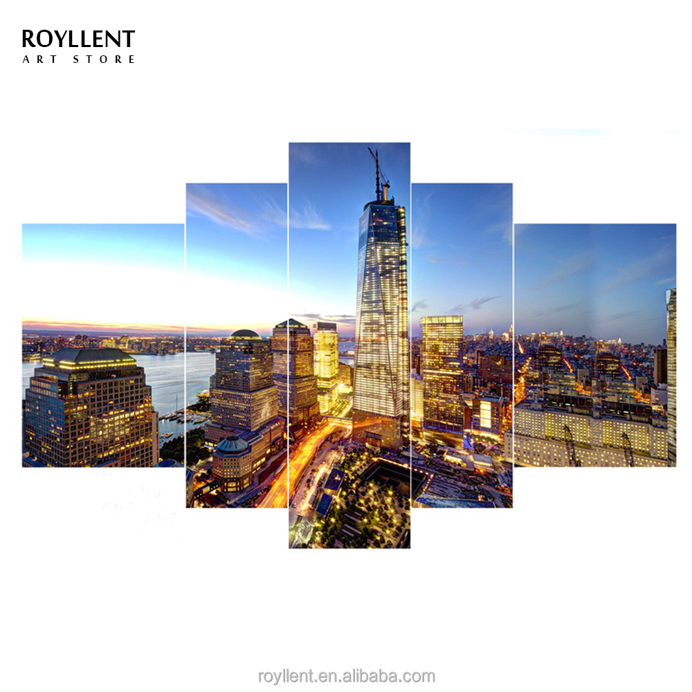 5 PCS Group Framed New City Blue Sky Canvas Paintings Landscape <strong>Picture</strong> Printing Modern Home Wall Art Decor Wholesale RA0206