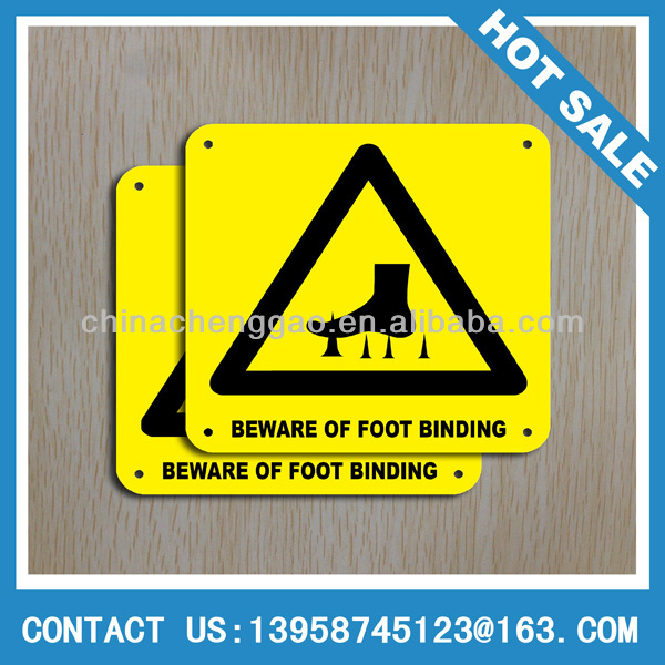 beware of foot banding warning metal sign/plate