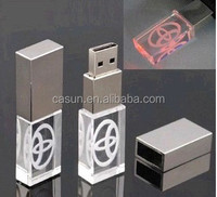 Wholesale custom 3D crystal usb memory sticks Bulk 3D Laser Engraving Crystal USB sticks 8GB with company logo, Led