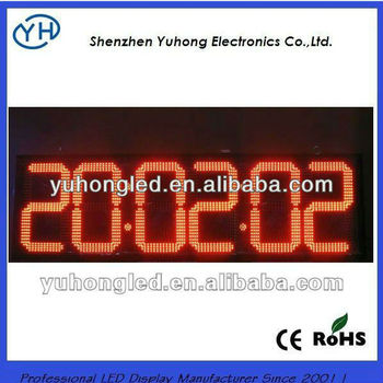 "CE&Rohs 16"" 88:88:88C/F Red Outdoor Big LED Digital Clock Display"