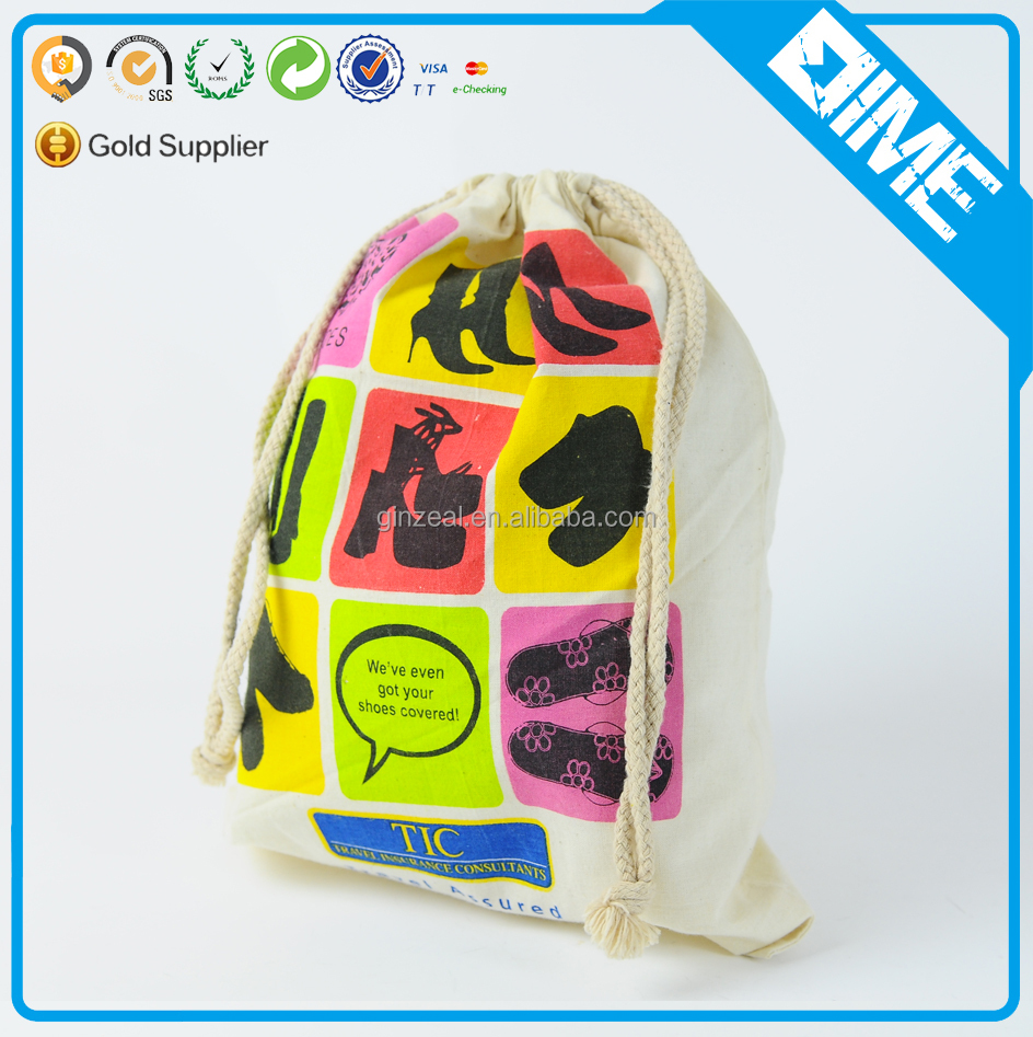 Custom design fashion printed Cotton shopping bags with cotton drawstring Bag